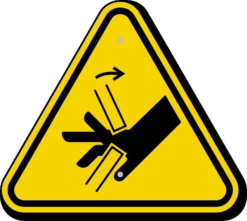 ISO Hand Crush, Pinch Point Symbol Warning Sign