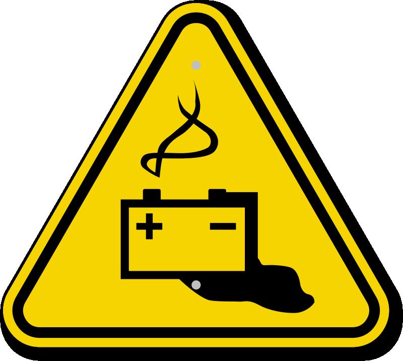 Iso Triangle Battery Hazard Warning Sign Sku Is 2076