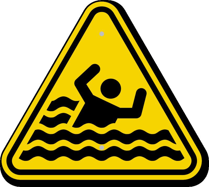 ISO Beware Of Drowning Symbol Warning Sign