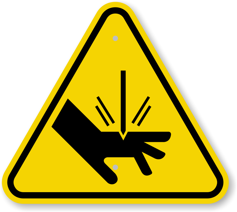 ISO Cut Sever Hazard Symbol Warning Sign