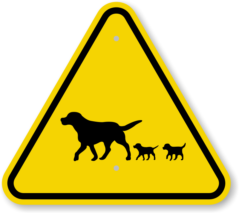 ISO Dog and Puppy Crossing Symbol Warning Sign