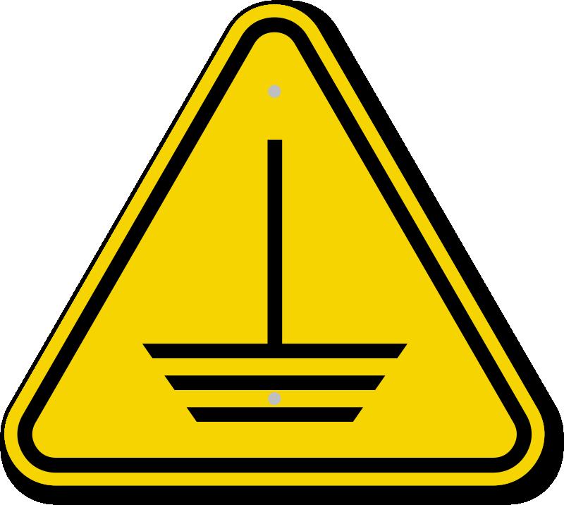 ISO Electric Ground Hazard Symbol Warning Sign