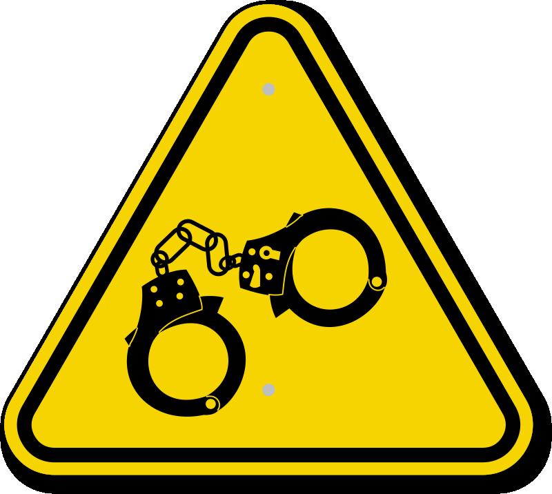 ISO Hand Cuff Symbol Warning Sign