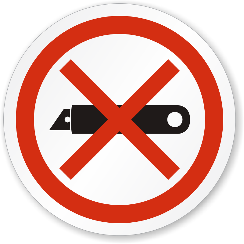 Do Not Use Blades To Open Iso Prohibition Circular Sign