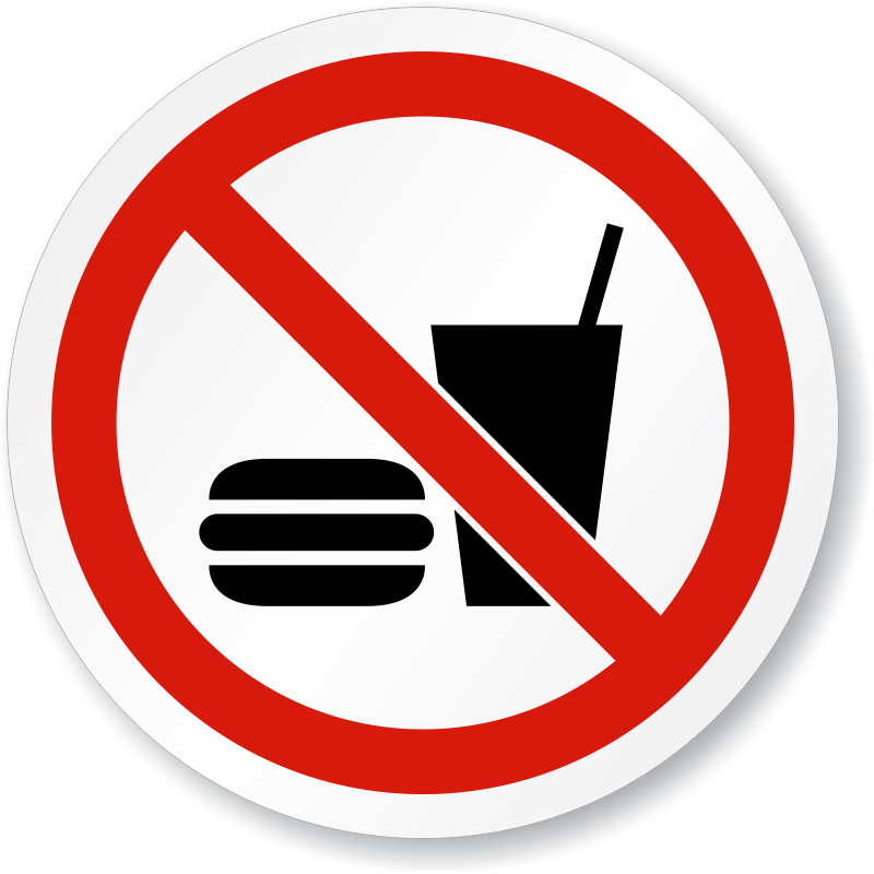 No Eating or Drinking ISO Sign