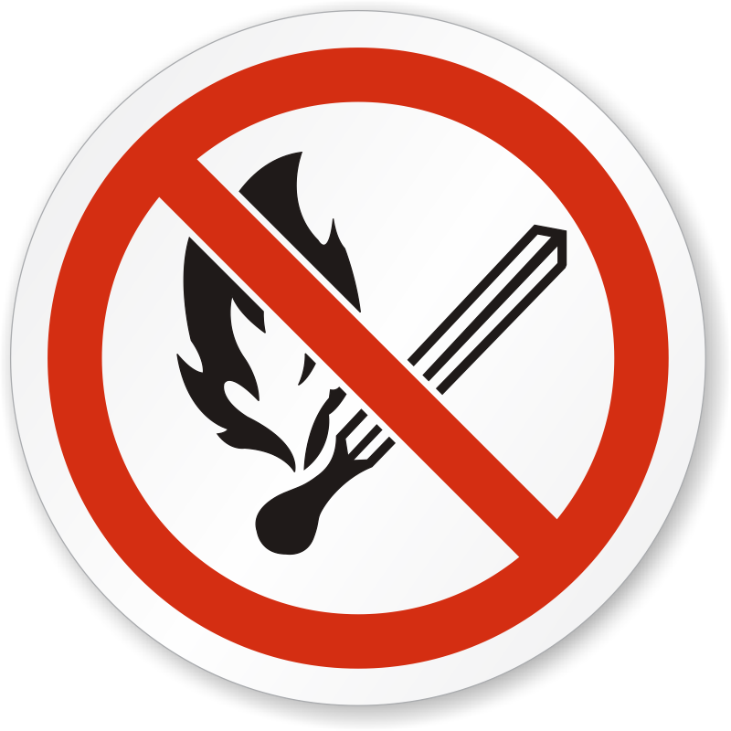 No Open Flame, Fire, Open Ignition ISO Sign