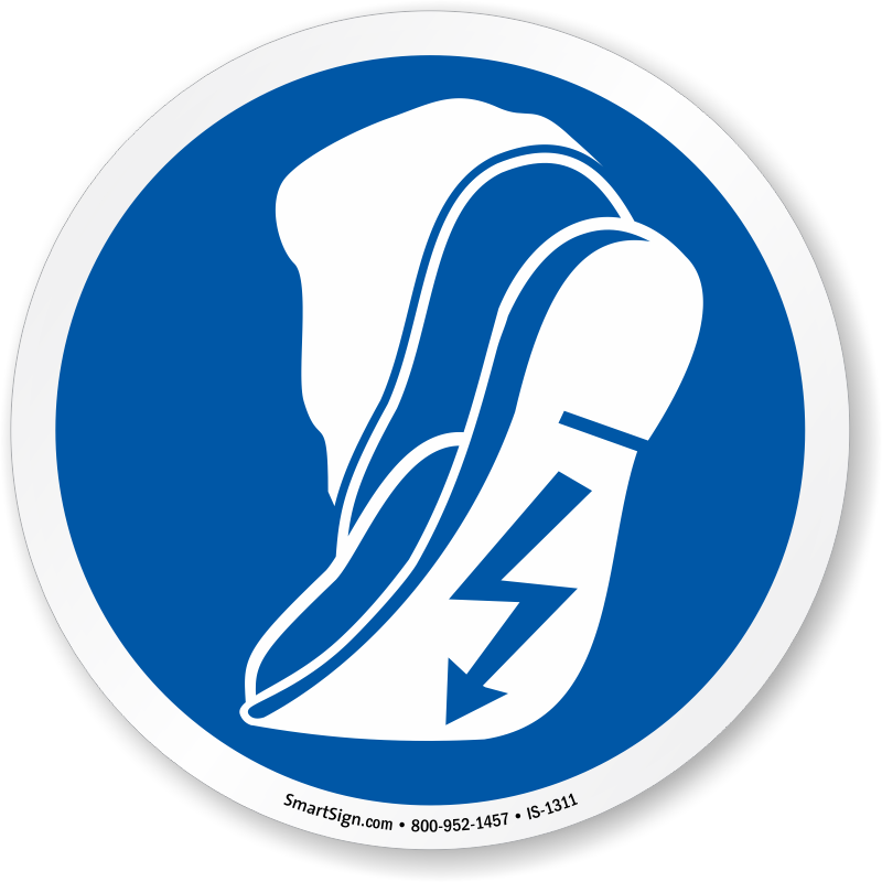 Use Anti-Static Footwear ISO Mandatory Action Symbol Sign