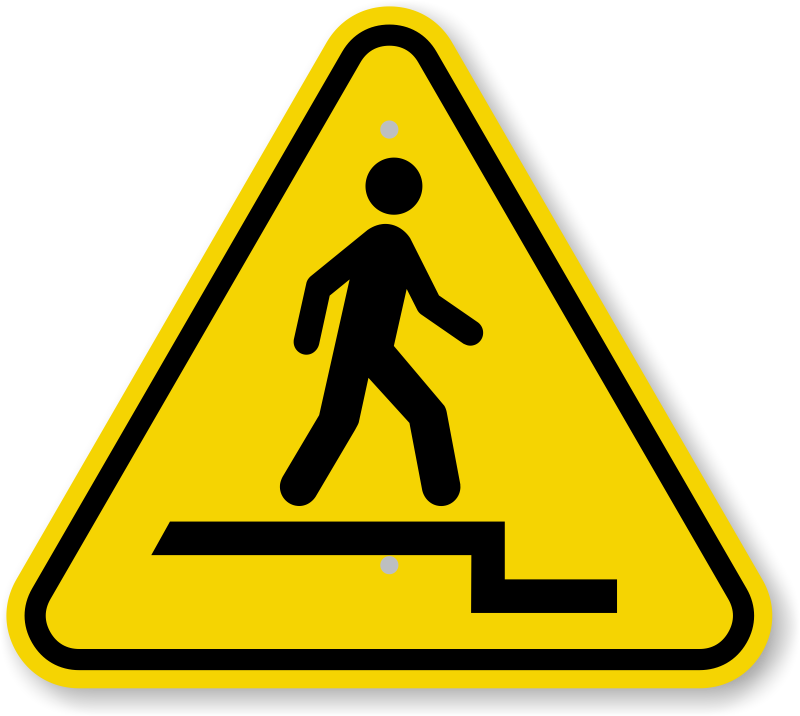 ISO Watch Step Down Warning Sign