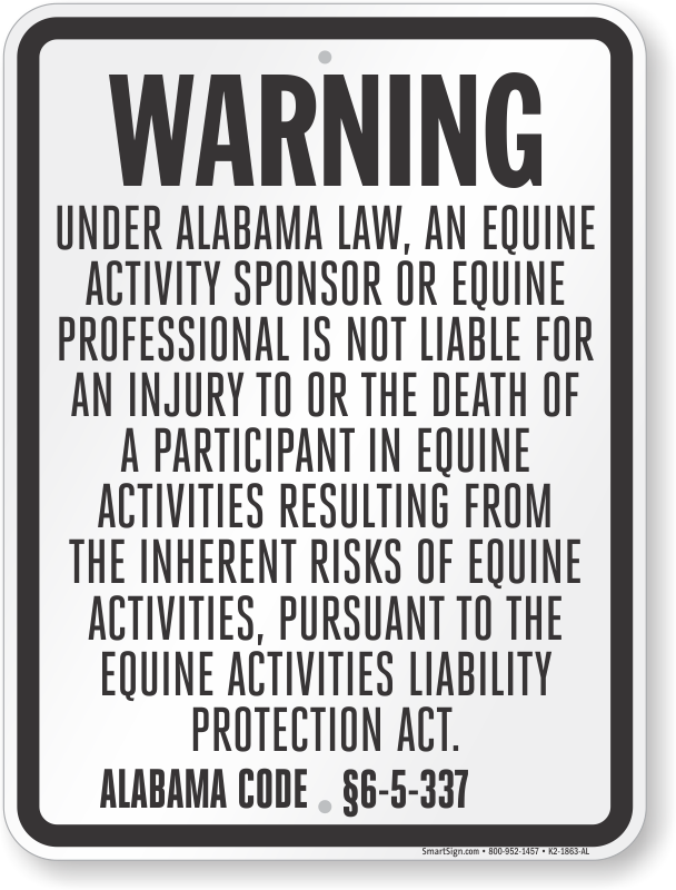 Alabama Equine Liability Sign