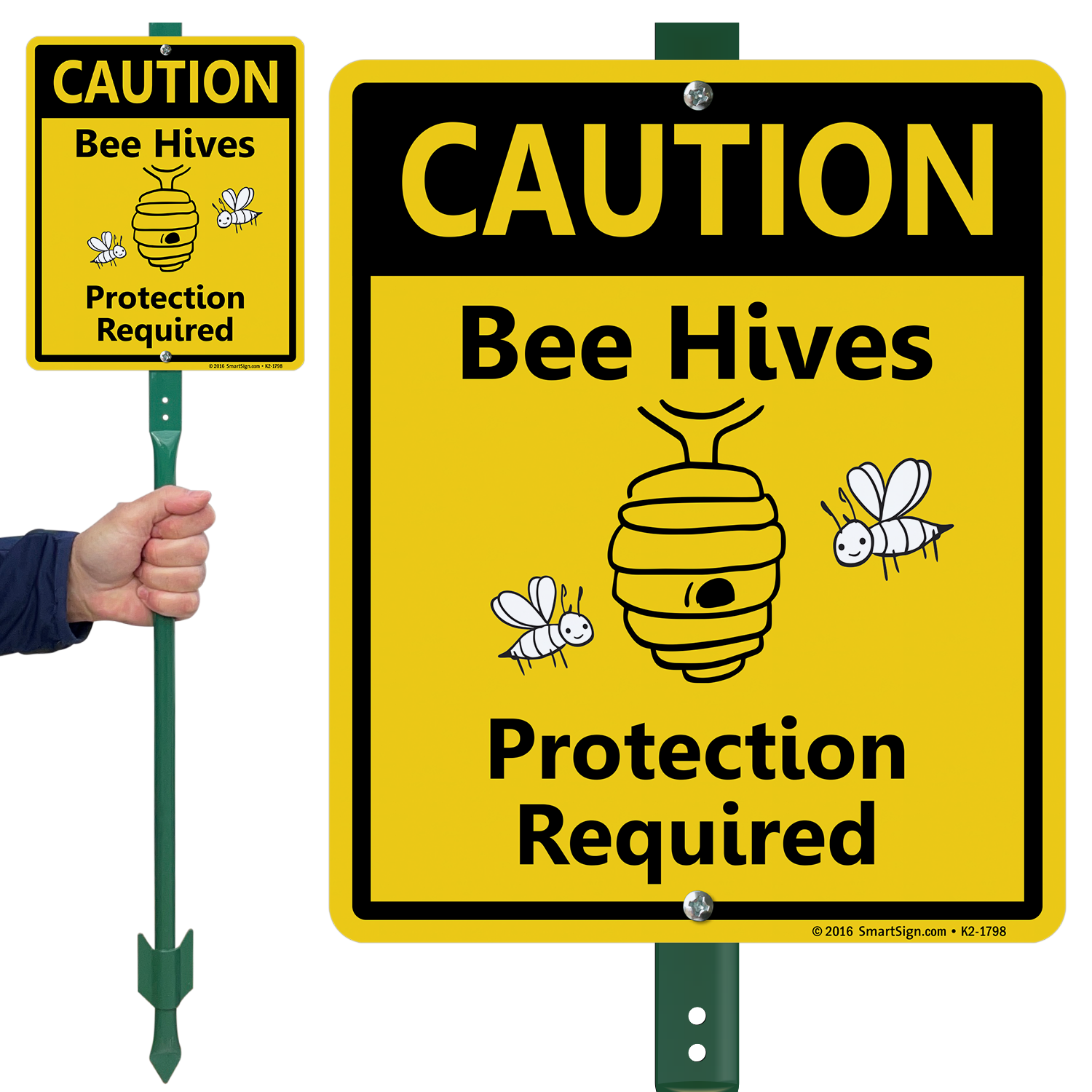 Caution Bee Hives Protection Required Lawnboss Sign