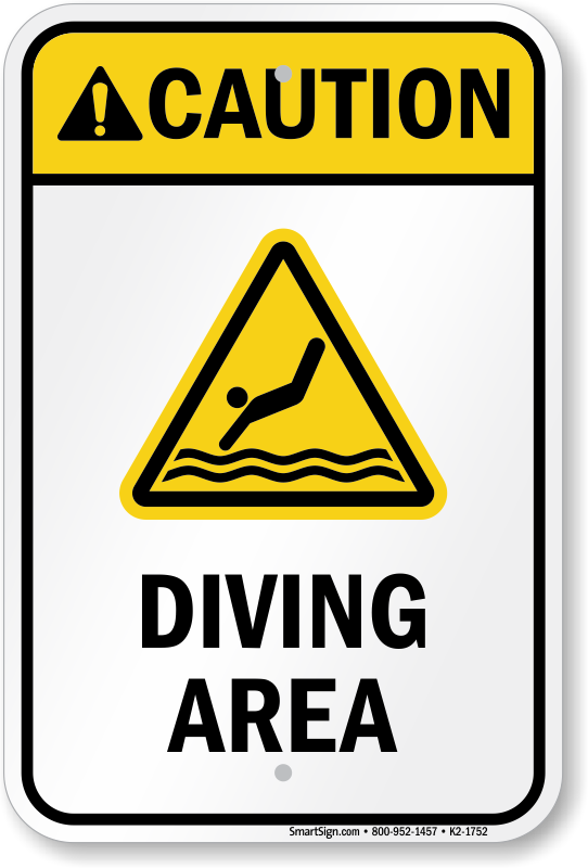 Caution Diving Area Water Safety Sign
