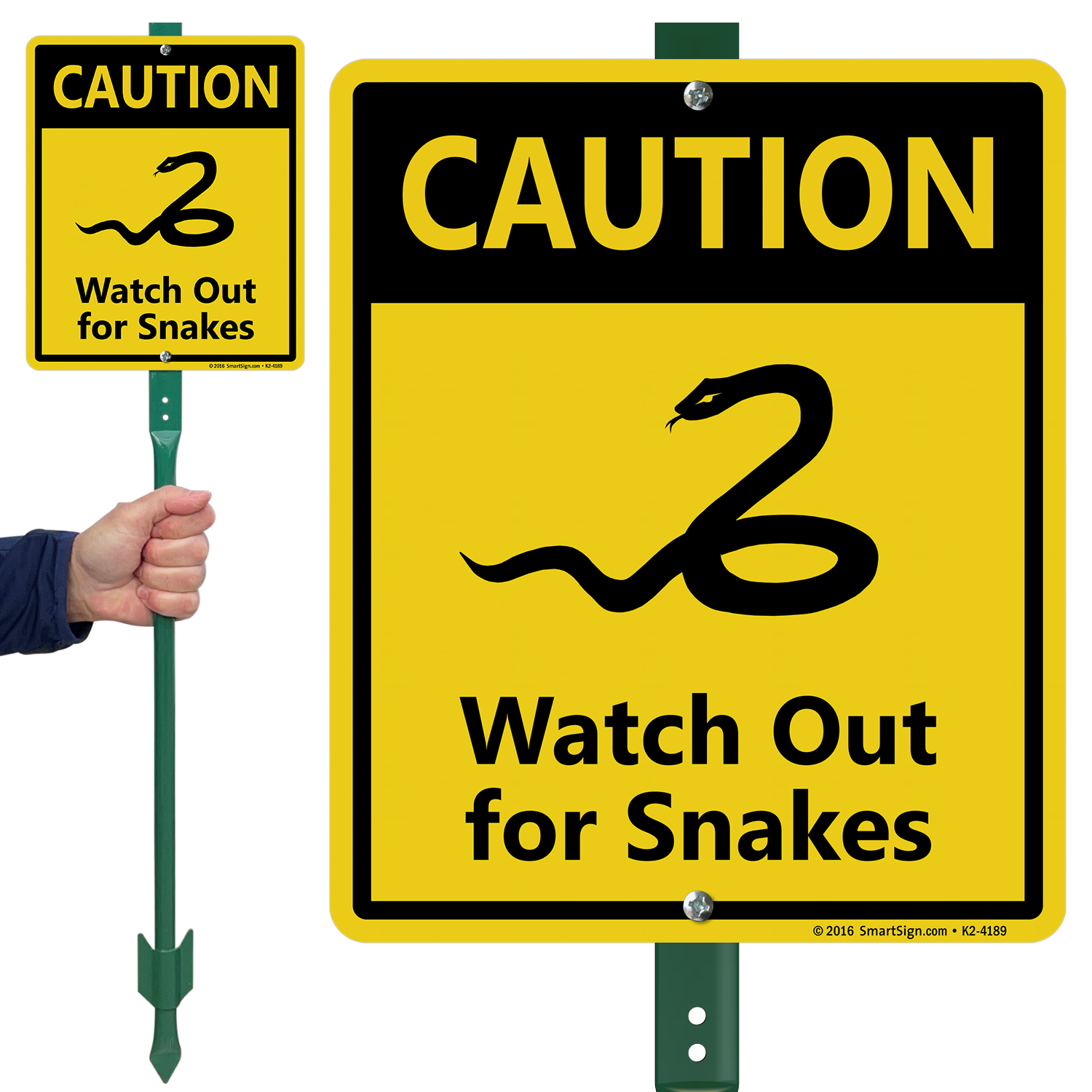 Caution Watch Out For Snakes LawnBoss Sign