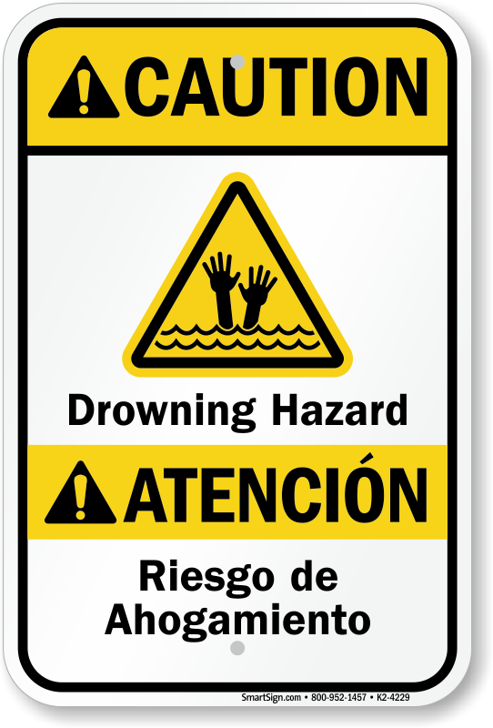 Drowning Hazard Bilingual Beach Safety Sign