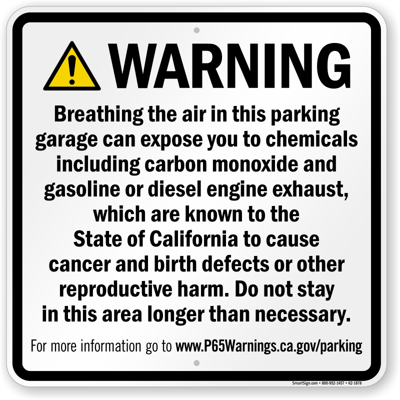 Enclosed Parking Facility Prop 65 Sign