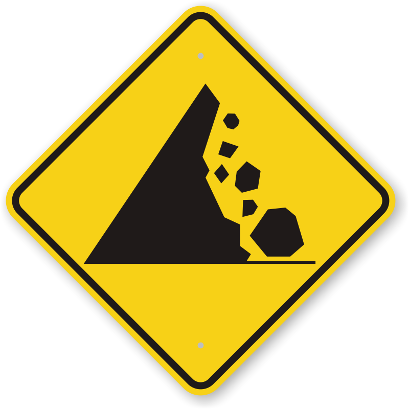 Warning Road Sign Falling Mountain Rocks...