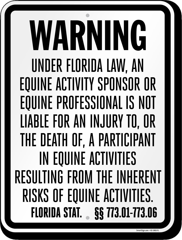 Florida Equine Liability Sign