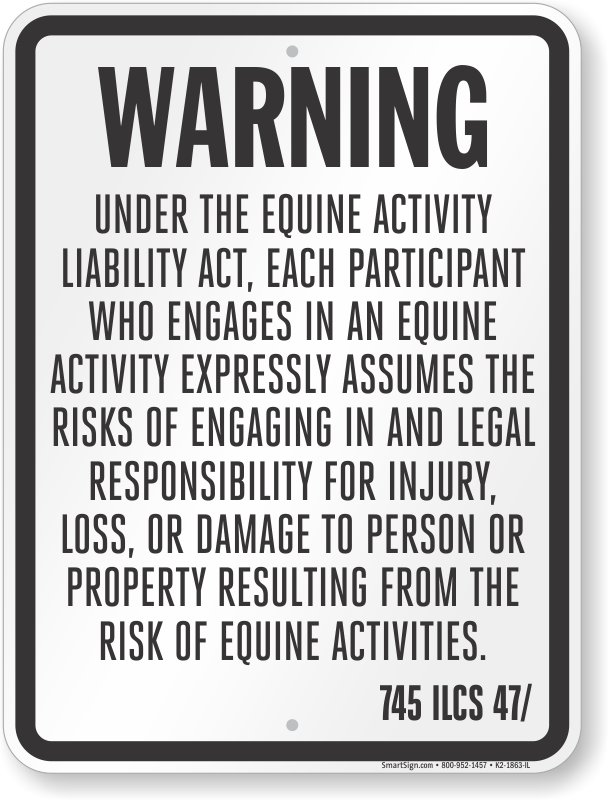 Illinois Equine Liability Sign