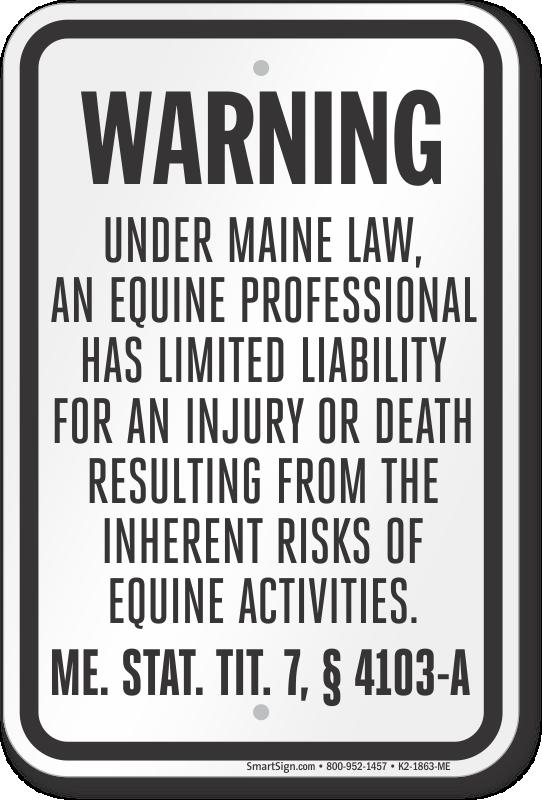 Maine Equine Liability Sign