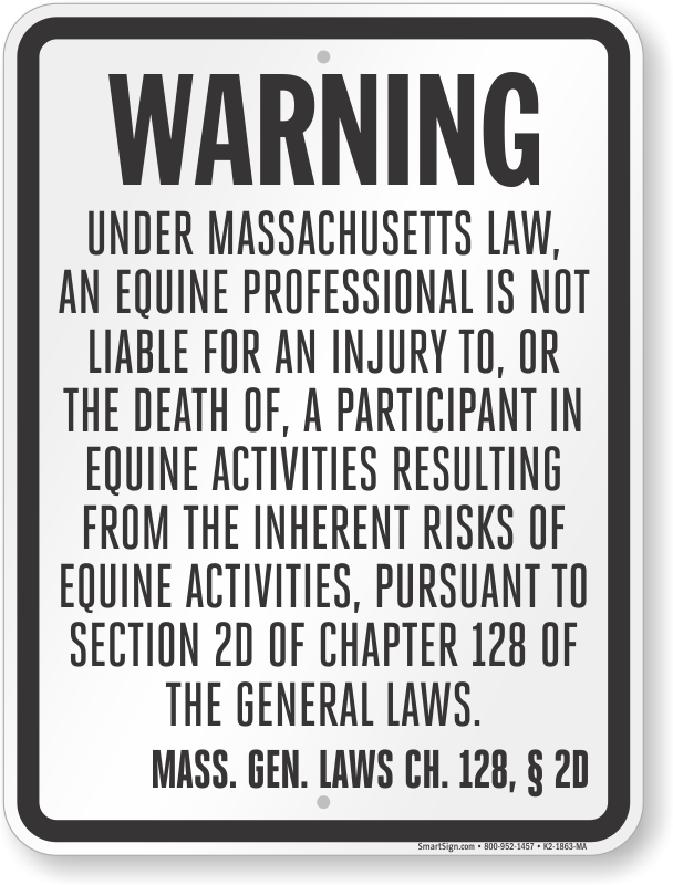 Massachusetts Equine Liability Sign