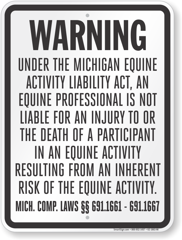 Michigan Equine Liability Sign