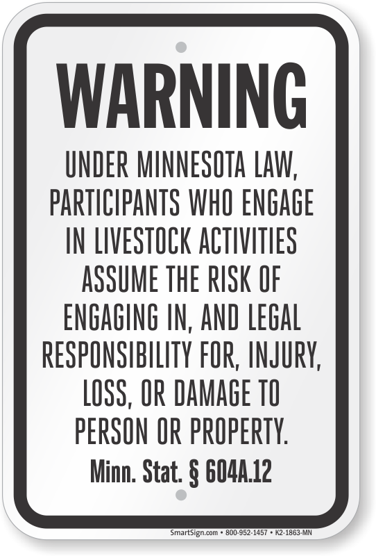 Minnesota Equine Liability Sign