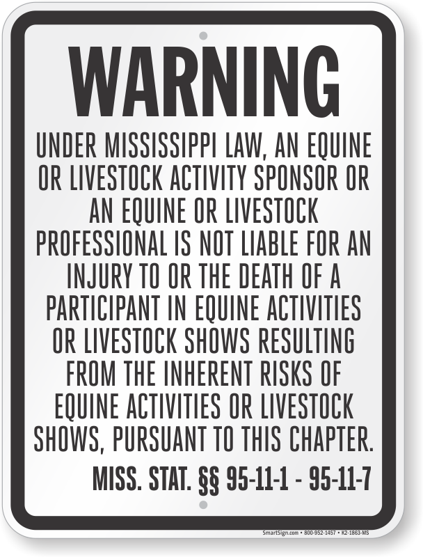 Mississippi Equine Liability Sign