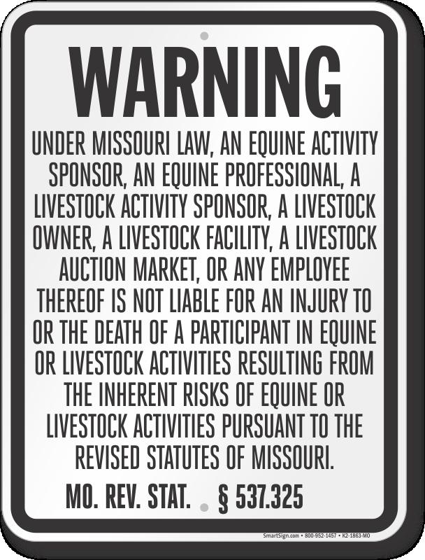 Missouri Equine Liability Sign