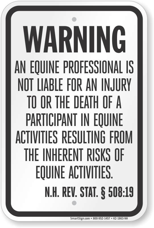 New Hampshire Equine Liability Sign