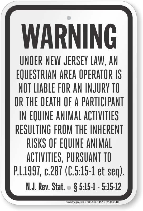 New Jersey Equine Sign
