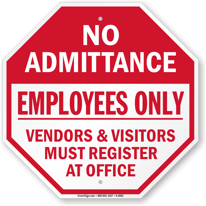 visitor visitors signs must sign admittance register stop office vendors zoom x18 report custom