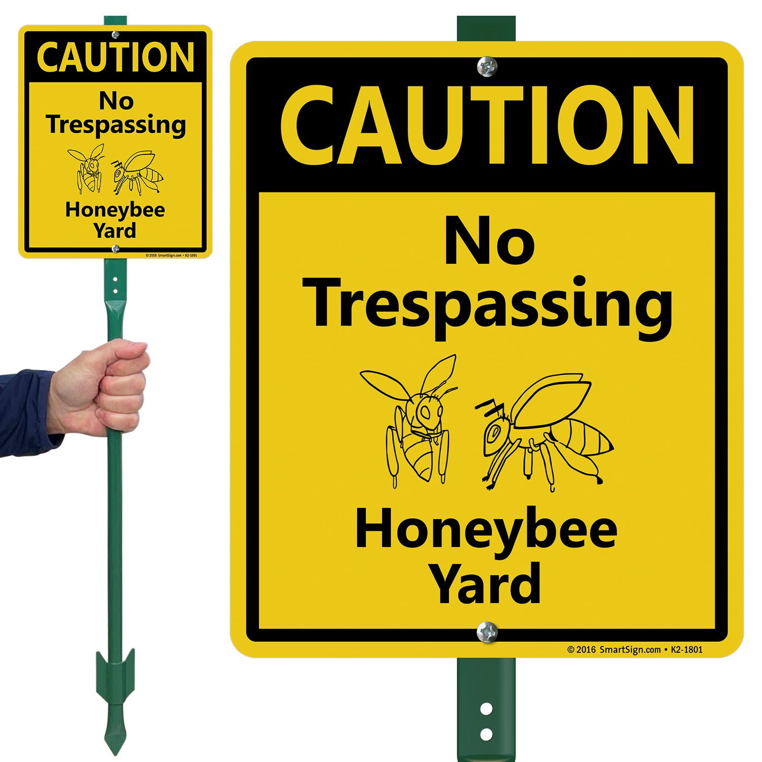No Trespassing Honeybee Yard Lawnboss Sign