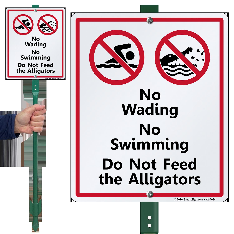 No Wading, Swimming or Feeding Alligators Lawnboss Sign