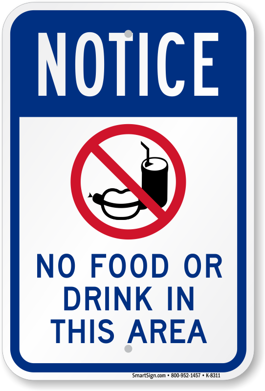 No Food Or Drink Sign With Graphic