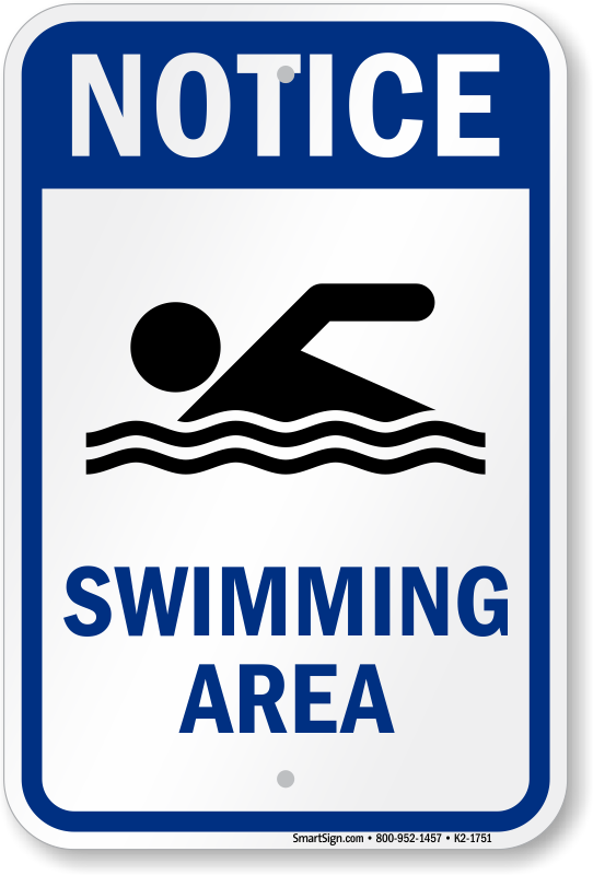 Notice Swimming Area Water Safety Sign