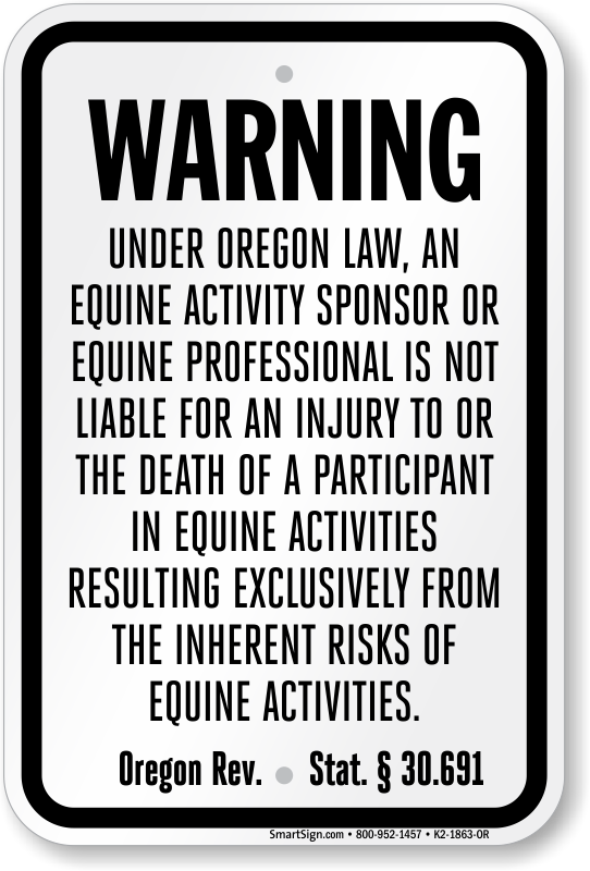 Oregon Equine Liability Sign