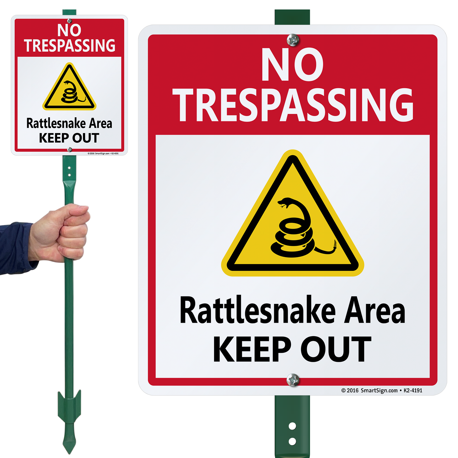 Rattlesnake Area Keep Out LawnBoss Sign