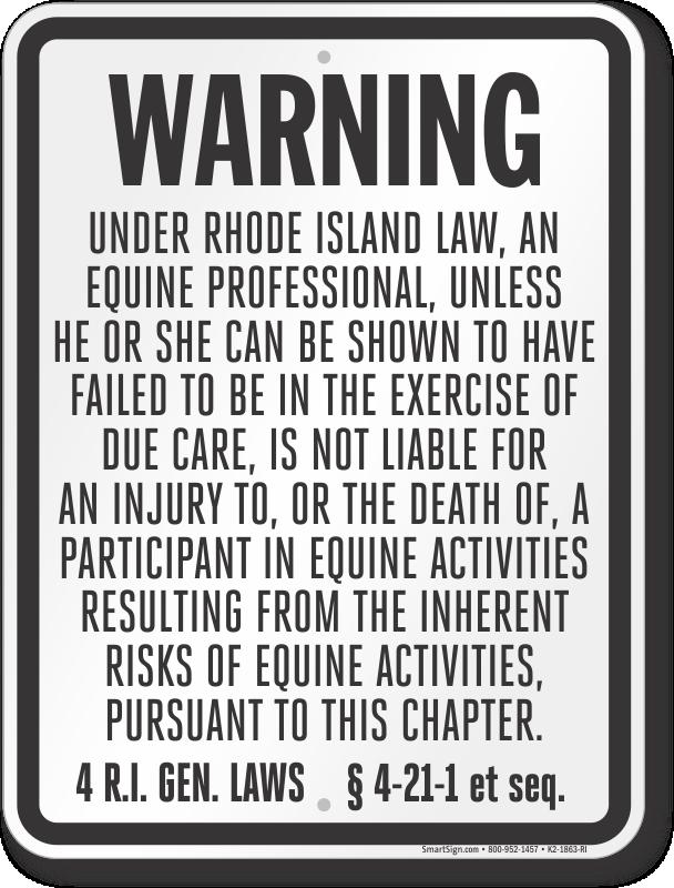 Rhode Island Equine Sign