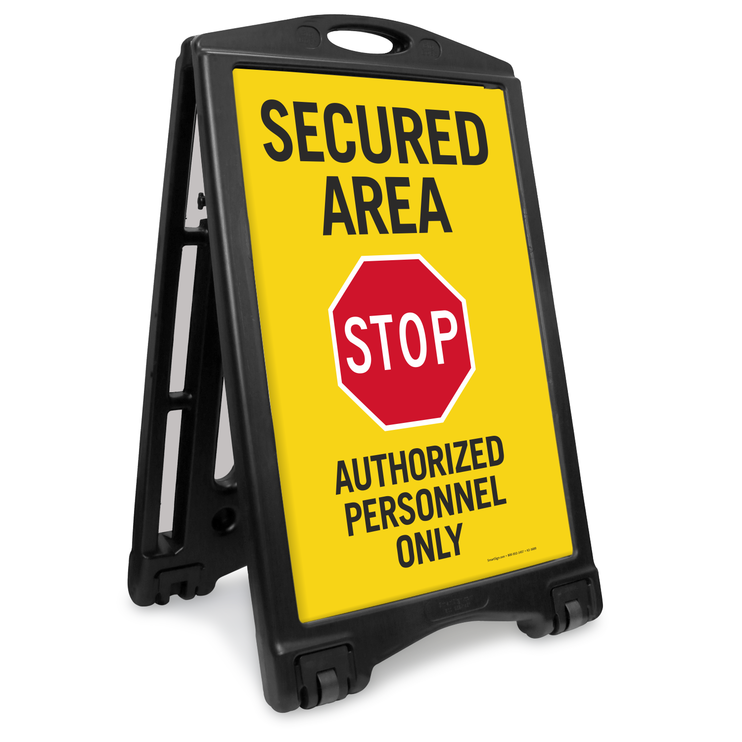 Secured Area Stop Authorized Personnel Sidewalk Sign