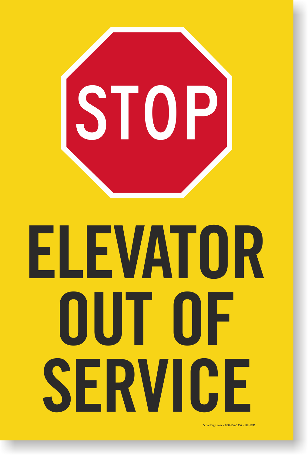 Stop Elevator Out Of Service Sign Panel