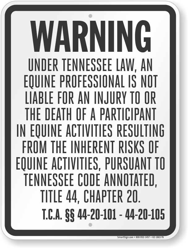 Tennessee Equine Liability Sign
