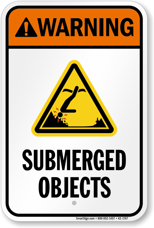 Warning Submerged Objects Water Safety Sign