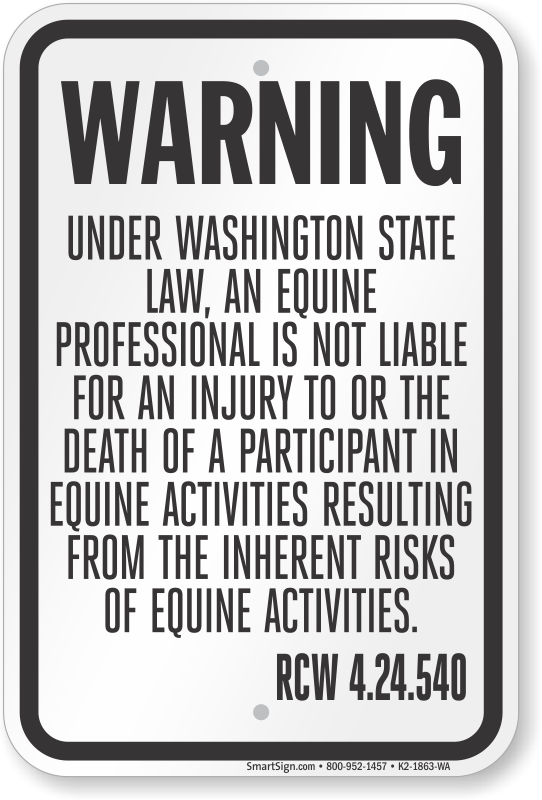 Washington Equine Liability Sign