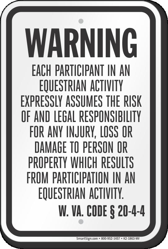 West Virginia Equine Liability Sign