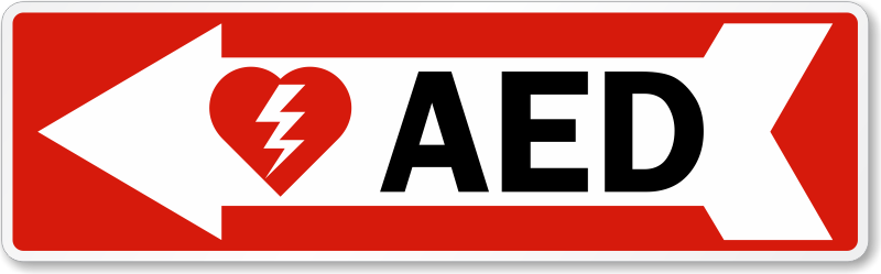 AED Left Arrow Symbol Label