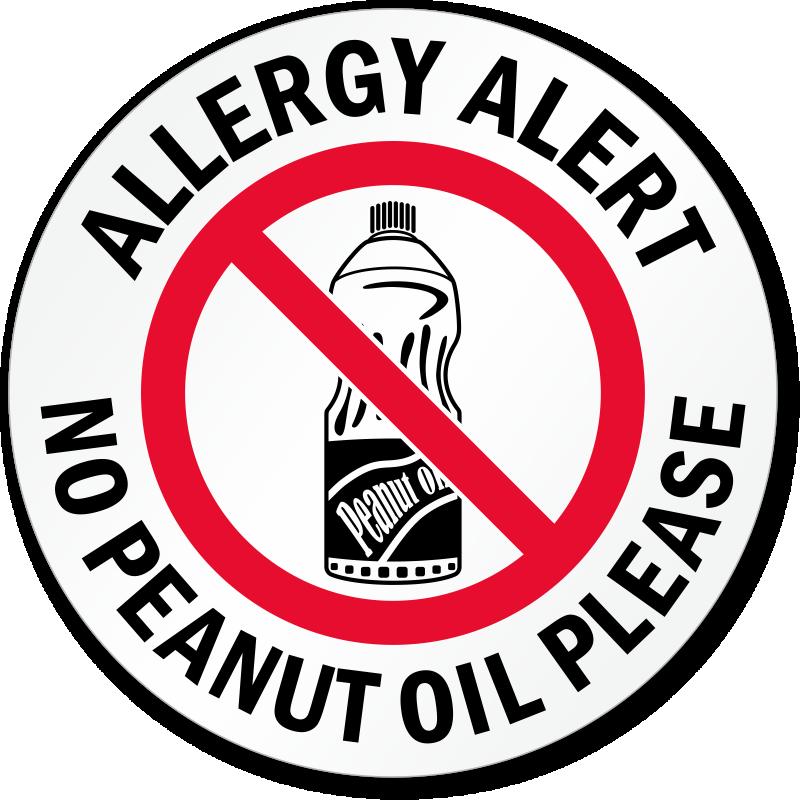 Allergy Alert No Peanut Oil Please Door Decal