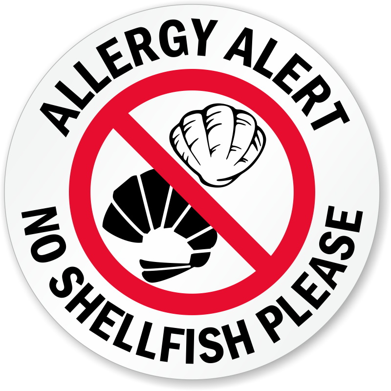 Allergy Alert No Shellfish Please Door Decal Signs Sku