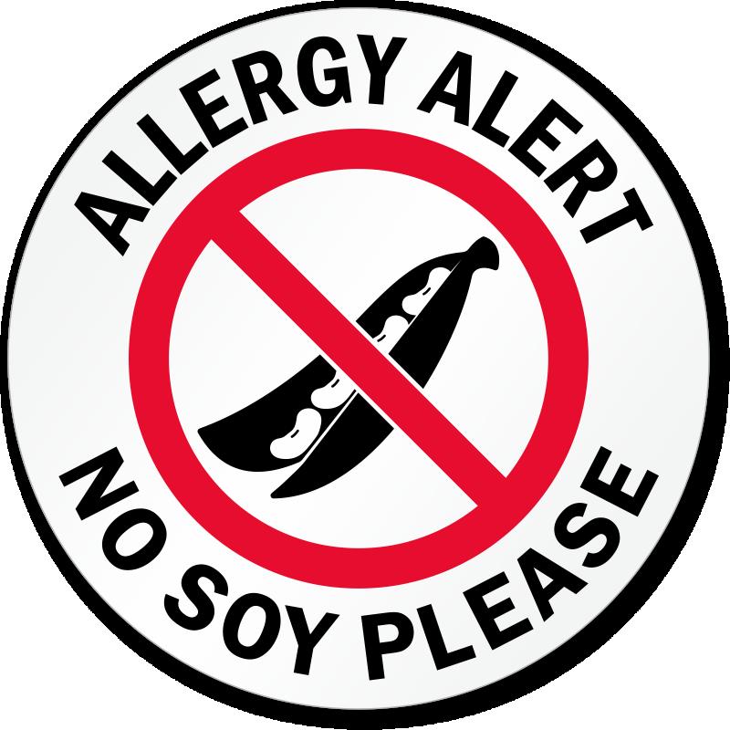 Allergy Alert No Soy Please Door Decal