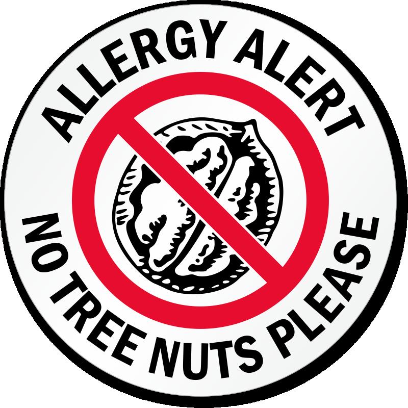 Allergy Alert No Tree Nuts Please Door Decal