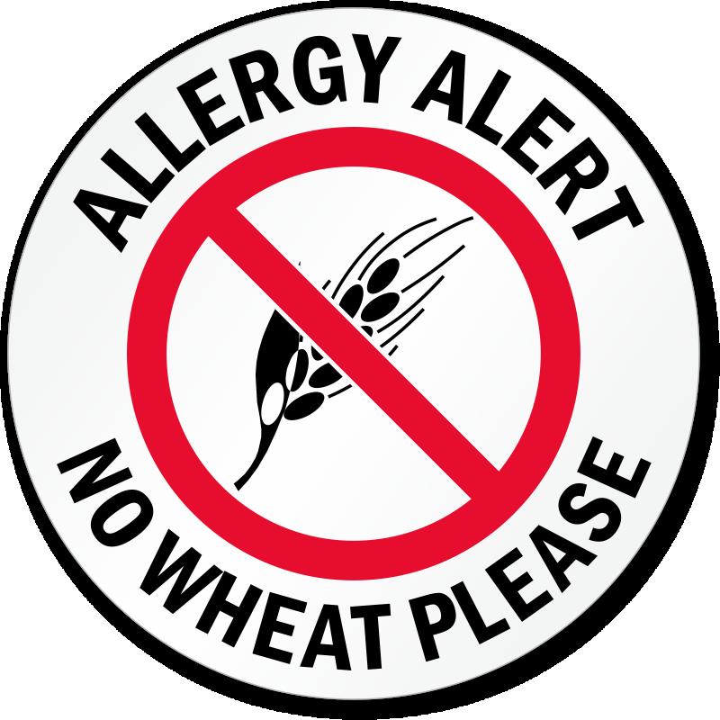 Allergy Alert No Wheat Please Door Decal