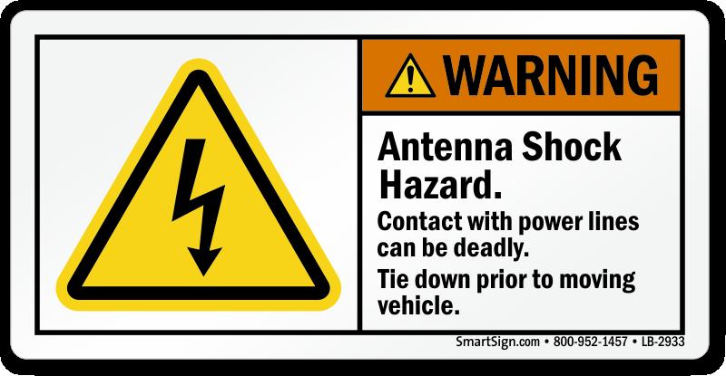 Antenna Shock Hazard, ANSI Warning Label